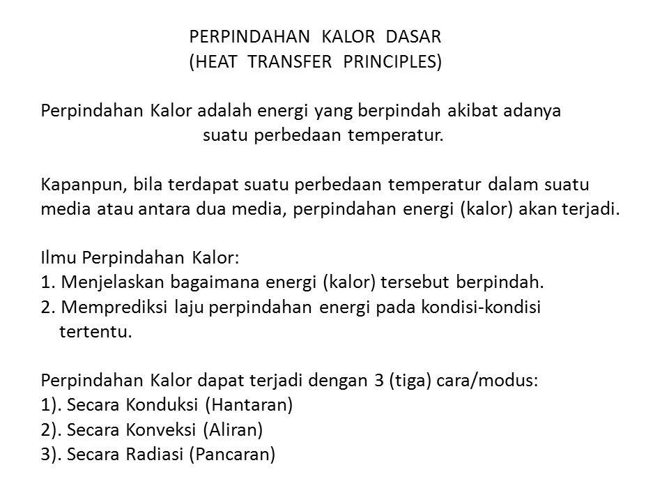 PERPINDAHAN KALOR DASAR (HEAT TRANSFER PRINCIPLES) Perpindahan Kalor adalah energi yang berpindah akibat adanya suatu perbedaan temperatur. Kapanpun,