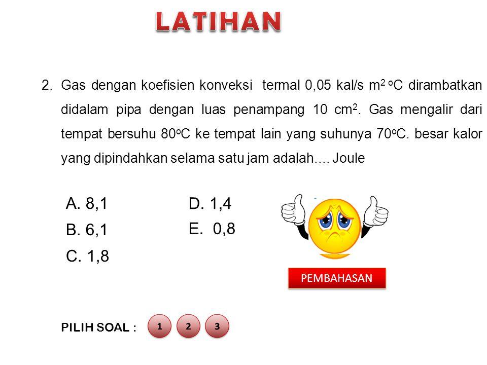 2.Gas dengan koefisien konveksi termal 0,05 kal/s m 2 o C dirambatkan didalam pipa dengan luas penampang 10 cm 2. Gas mengalir dari tempat bersuhu 80