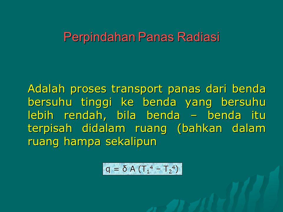 Perpindahan Panas Radiasi Adalah proses transport panas dari benda bersuhu tinggi ke benda yang bersuhu lebih rendah, bila benda – benda itu terpisah