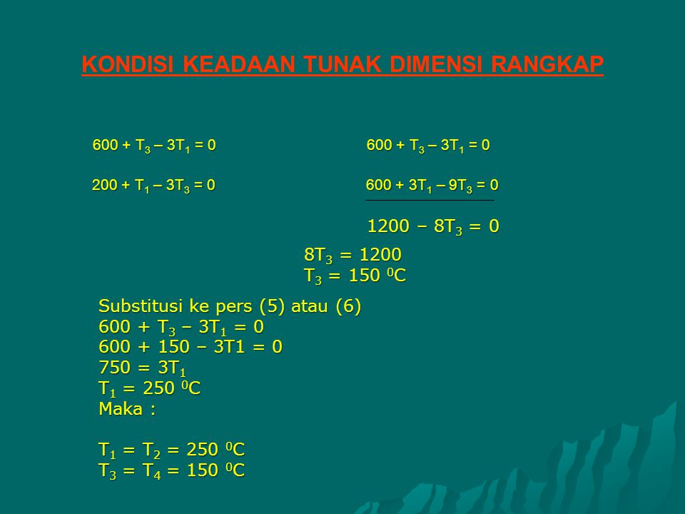 600 + T 3 – 3T 1 = 0600 + T 3 – 3T 1 = 0 200 + T 1 – 3T 3 = 0600 + 3T 1 – 9T 3 = 0 8T 3 = 1200 T 3 = 150 0 C Substitusi ke pers (5) atau (6) 600 + T 3