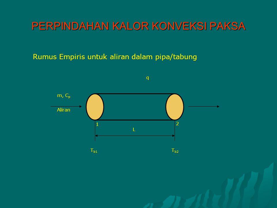 PERPINDAHAN KALOR KONVEKSI PAKSA Rumus Empiris untuk aliran dalam pipa/tabung m, C p Aliran 1 2 L T b1 T b2 q