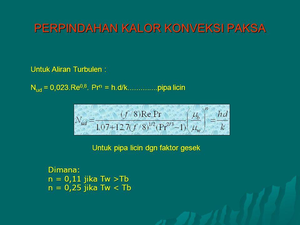 Untuk Aliran Turbulen : N ud = 0,023.Re 0,8. Pr n = h.d/k..............pipa licin Untuk pipa licin dgn faktor gesek Untuk pipa licin dgn faktor gesek