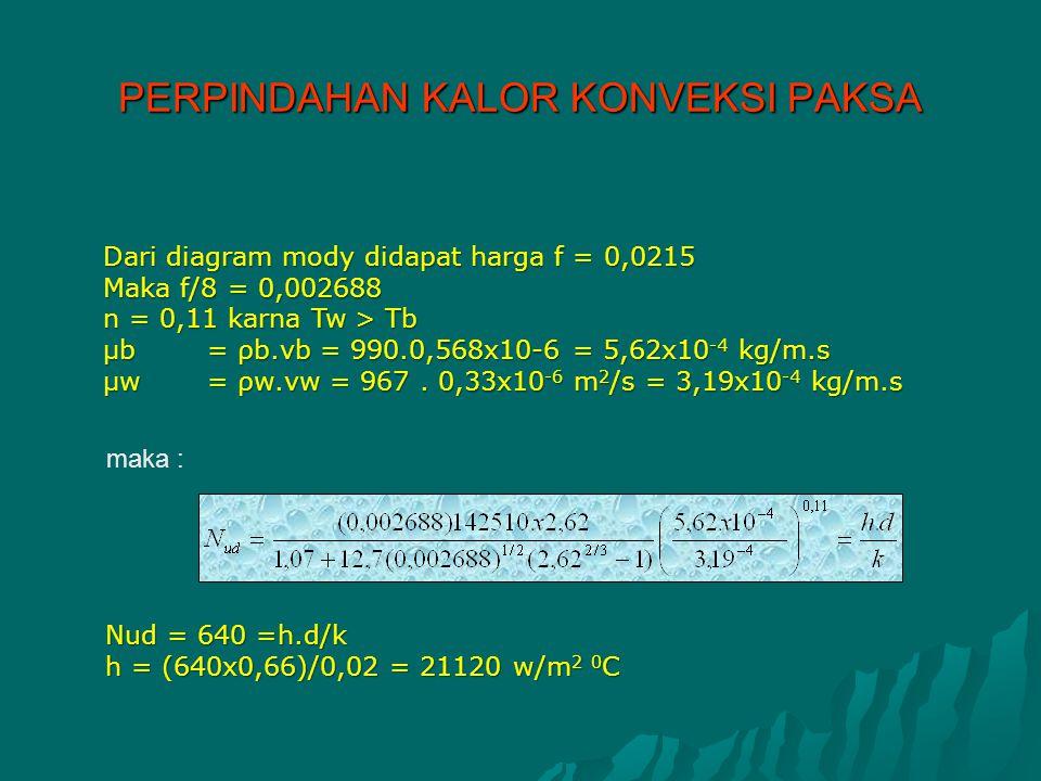 Dari diagram mody didapat harga f = 0,0215 Maka f/8 = 0,002688 n = 0,11 karna Tw > Tb μb= ρb.vb = 990.0,568x10-6 = 5,62x10 -4 kg/m.s μw= ρw.vw = 967.