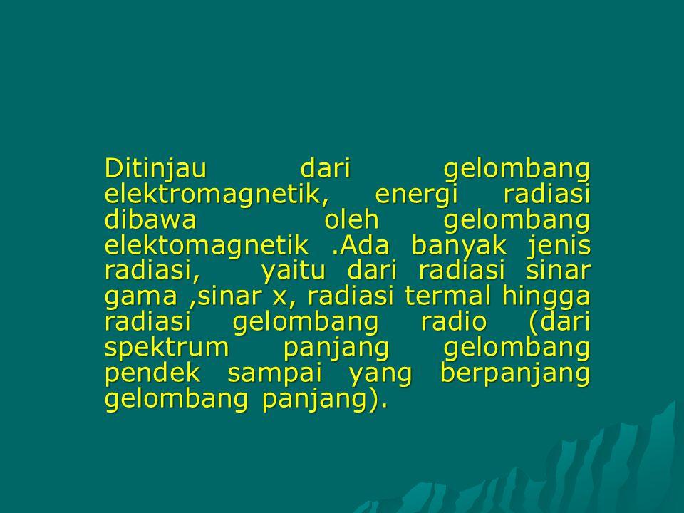 Ditinjau dari gelombang elektromagnetik, energi radiasi dibawa oleh gelombang elektomagnetik.Ada banyak jenis radiasi, yaitu dari radiasi sinar gama,s