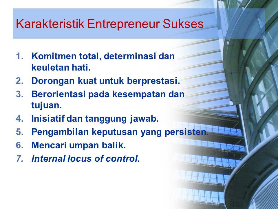 Karakteristik Entrepreneur Sukses 8.Toleransi terhadap ambiguitas (perbedaan).