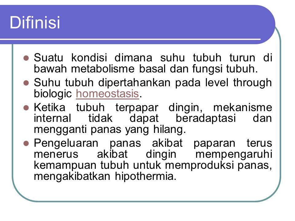 Difinisi Suatu kondisi dimana suhu tubuh turun di bawah metabolisme basal dan fungsi tubuh.