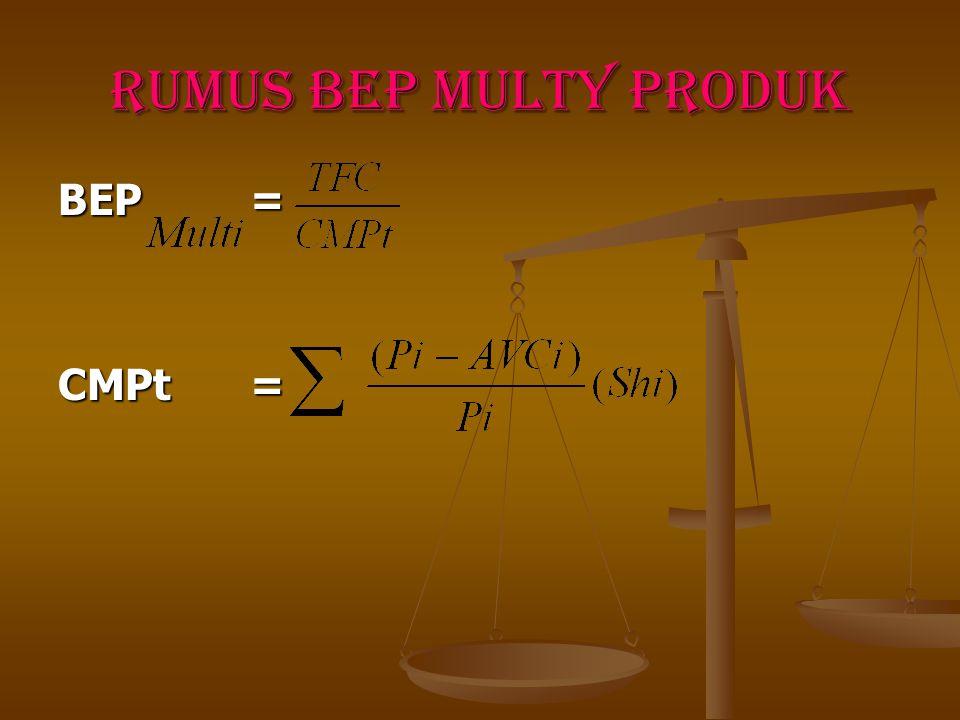 3. BEP Multy Product ( BEP Lebih Dari Satu Jenis Barang Atau Jasa) BEP multy product adalah titik pulang pokok untuk perusahaan yang memproduksi jenis
