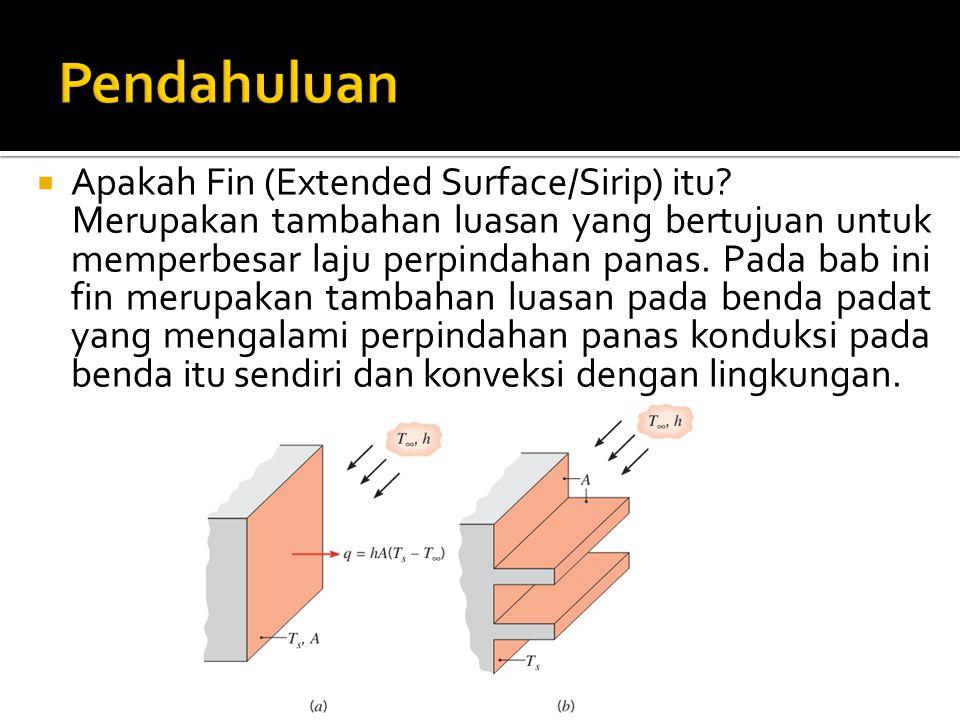  Apakah Fin (Extended Surface/Sirip) itu? Merupakan tambahan luasan yang bertujuan untuk memperbesar laju perpindahan panas. Pada bab ini fin merupak