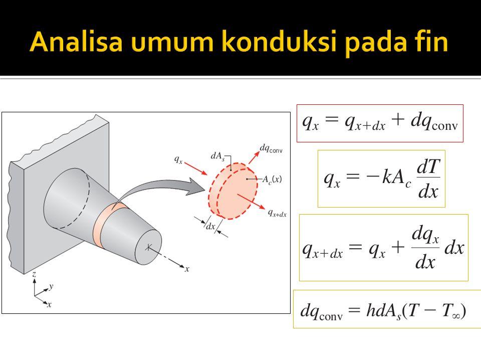 Panjang fin bisa dianggap tidak hingga jika laju perpindahan panas antara ujung fin dan basis adalah konstan, maka bisa dibandingkan antara persamaan berikut akan memiliki nilai yang sama: Nilainya sama jika tanh mL >= 0.99 atau mL>= 0.265