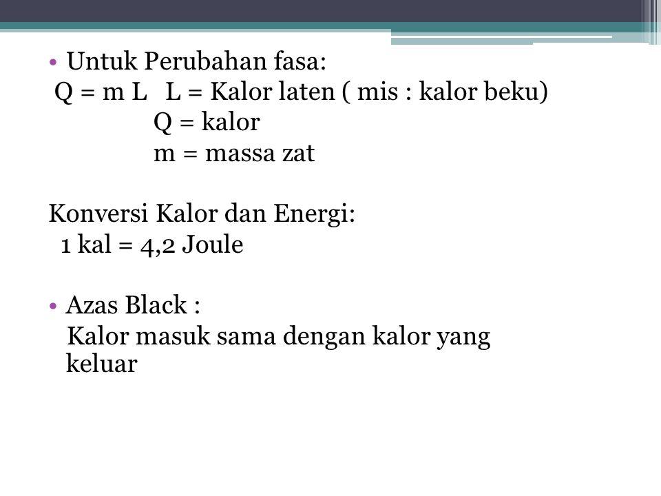 Untuk Perubahan fasa: Q = m L L = Kalor laten ( mis : kalor beku) Q = kalor m = massa zat Konversi Kalor dan Energi: 1 kal = 4,2 Joule Azas Black : Ka