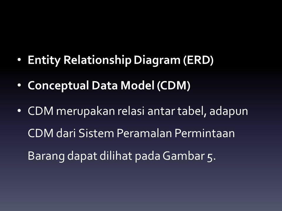 Entity Relationship Diagram (ERD) Conceptual Data Model (CDM) CDM merupakan relasi antar tabel, adapun CDM dari Sistem Peramalan Permintaan Barang dap