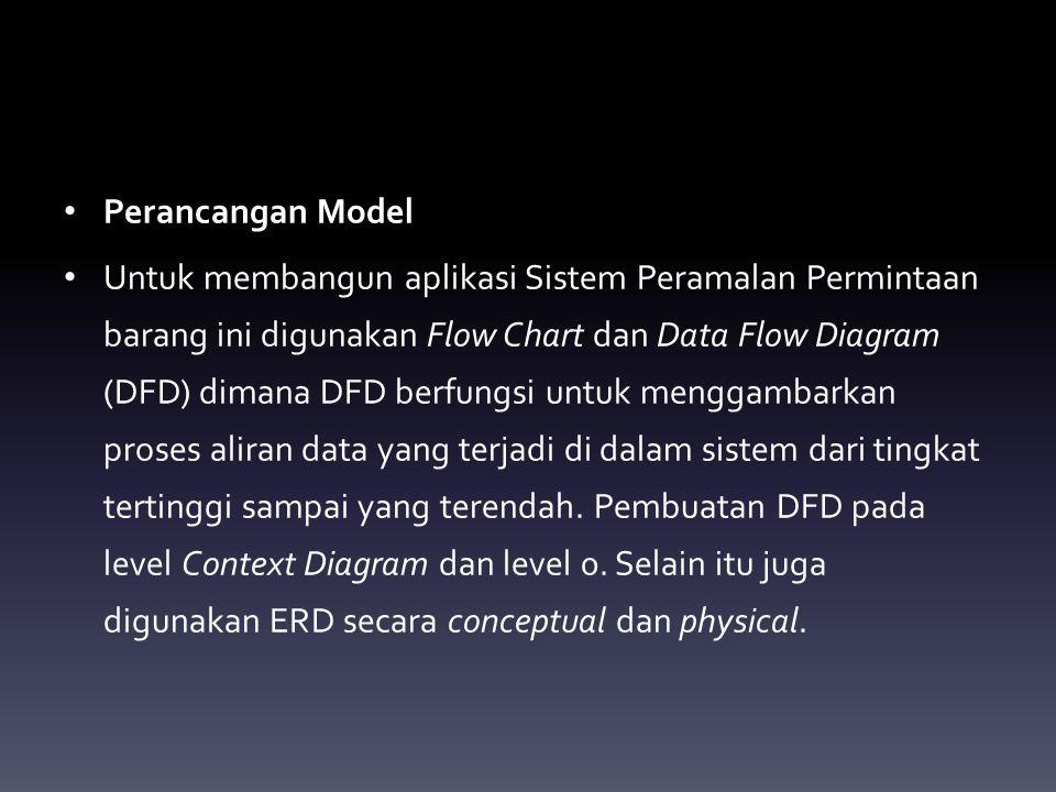 Perancangan Model Untuk membangun aplikasi Sistem Peramalan Permintaan barang ini digunakan Flow Chart dan Data Flow Diagram (DFD) dimana DFD berfungs