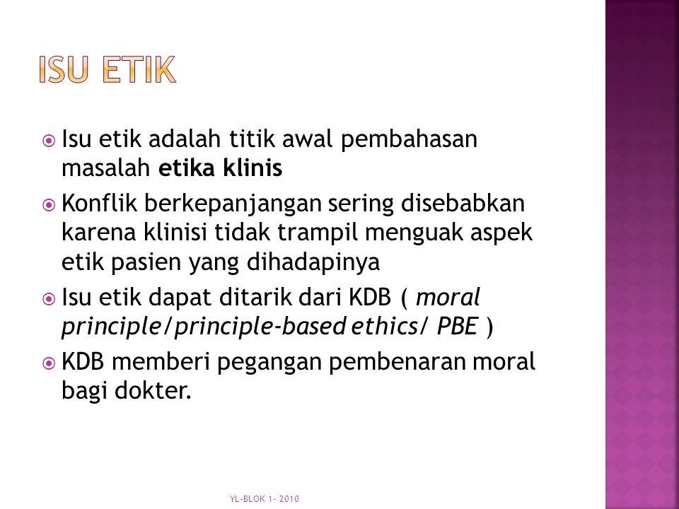  Isu etik adalah titik awal pembahasan masalah etika klinis  Konflik berkepanjangan sering disebabkan karena klinisi tidak trampil menguak aspek etik pasien yang dihadapinya  Isu etik dapat ditarik dari KDB ( moral principle/principle-based ethics/ PBE )  KDB memberi pegangan pembenaran moral bagi dokter.