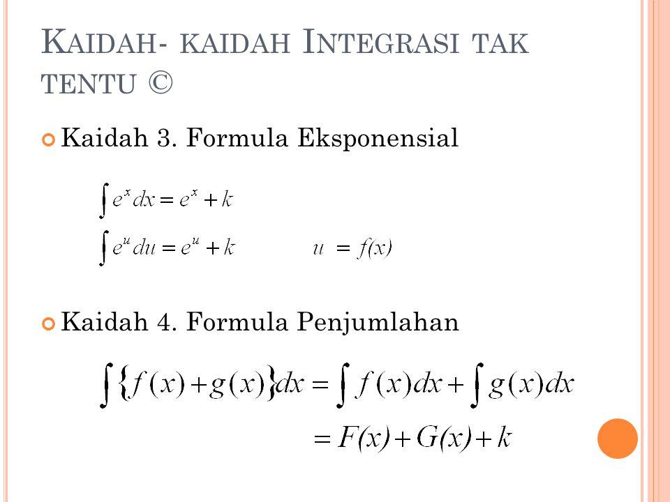 K AIDAH - KAIDAH I NTEGRASI TAK TENTU © Kaidah 3. Formula Eksponensial Kaidah 4. Formula Penjumlahan