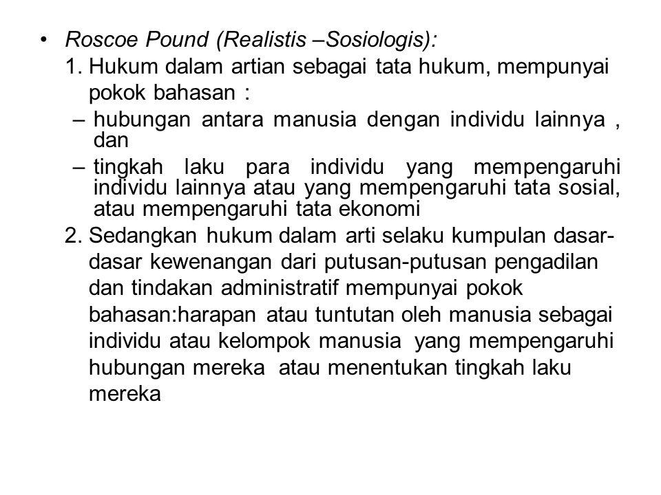 Roscoe Pound (Realistis –Sosiologis): 1.