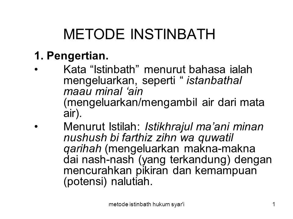 """metode istinbath hukum syar'i1 METODE INSTINBATH 1. Pengertian. Kata """"Istinbath"""" menurut bahasa ialah mengeluarkan, seperti """" istanbathal maau minal '"""