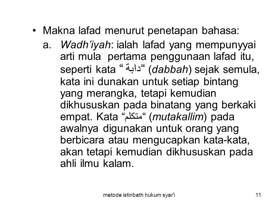 metode istinbath hukum syar'i11 Makna lafad menurut penetapan bahasa: a. Wadh'iyah: ialah lafad yang mempunyyai arti mula pertama penggunaan lafad itu