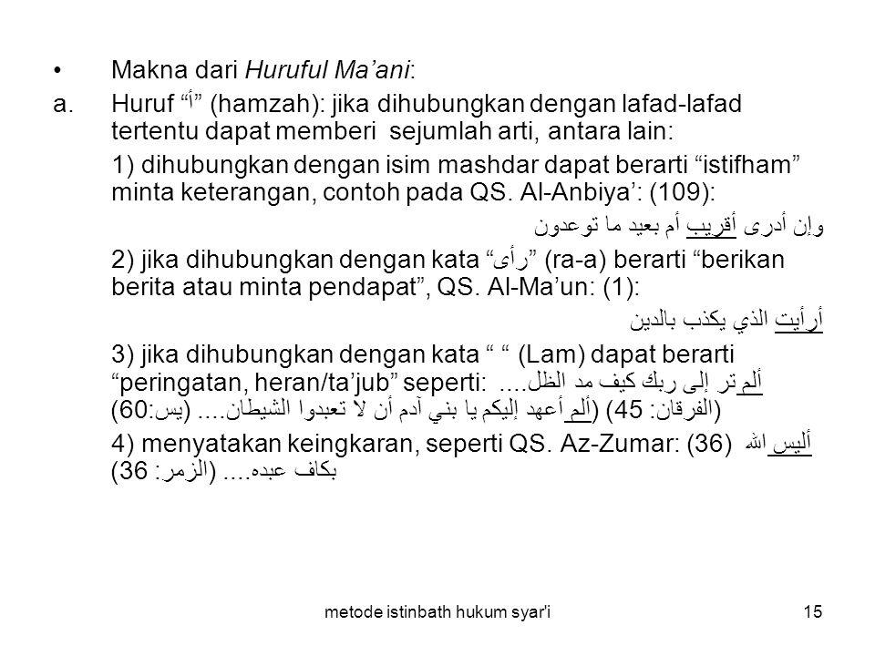 """metode istinbath hukum syar'i15 Makna dari Huruful Ma'ani: a.Huruf """"أ"""" (hamzah): jika dihubungkan dengan lafad-lafad tertentu dapat memberi sejumlah a"""