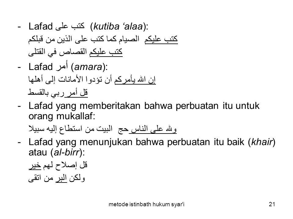 metode istinbath hukum syar'i21 -Lafad كتب على (kutiba 'alaa): كتب عليكم الصيام كما كتب على الذين من قبلكم كتب عليكم القصاص في القتلى -Lafad أمر (amar