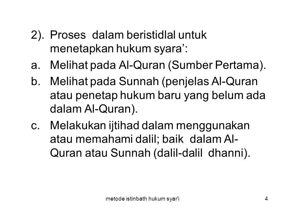 metode istinbath hukum syar'i4 2).Proses dalam beristidlal untuk menetapkan hukum syara': a.Melihat pada Al-Quran (Sumber Pertama). b.Melihat pada Sun