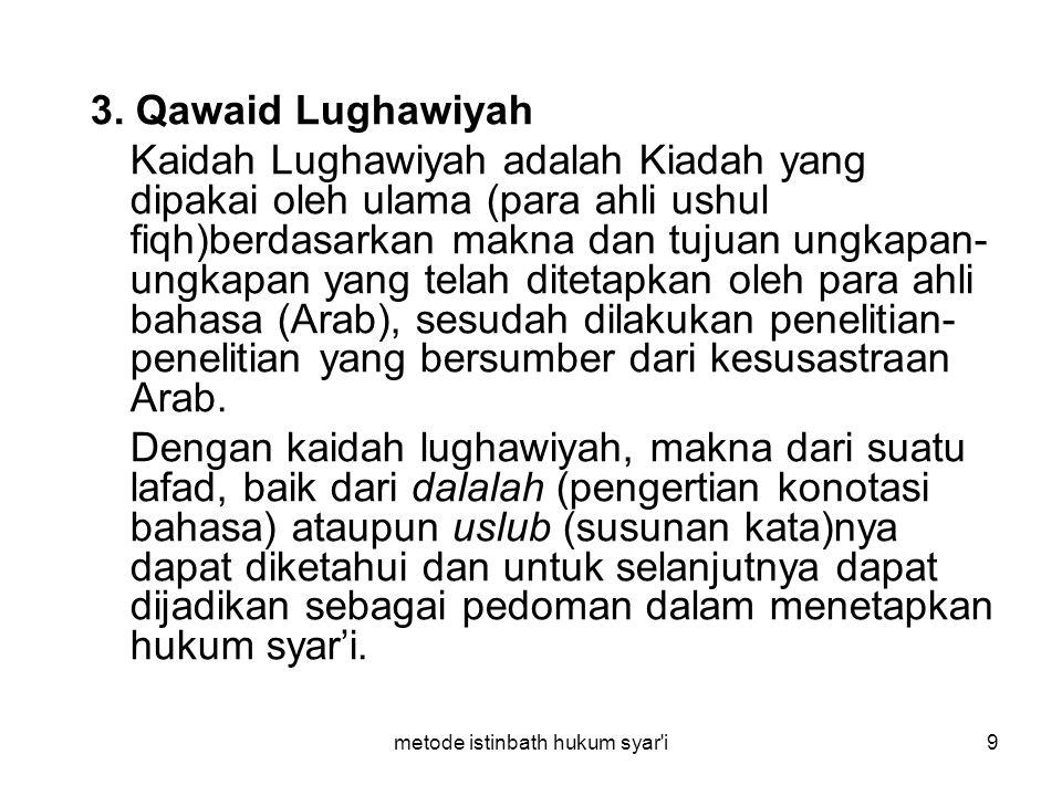 metode istinbath hukum syar'i9 3. Qawaid Lughawiyah Kaidah Lughawiyah adalah Kiadah yang dipakai oleh ulama (para ahli ushul fiqh)berdasarkan makna da