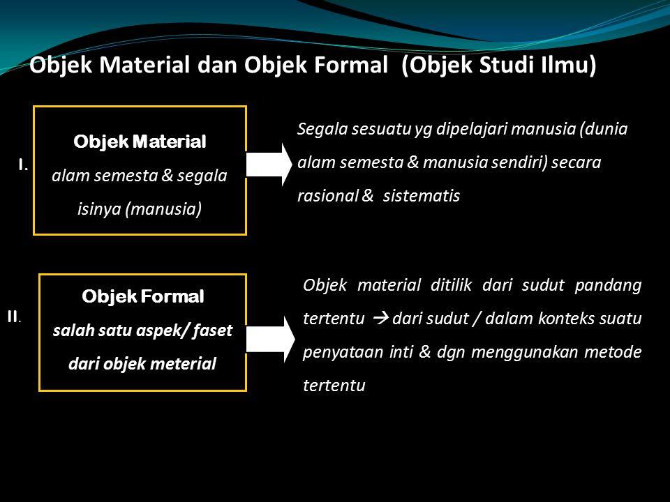 Objek Material dan Objek Formal (Objek Studi Ilmu) Objek Material alam semesta & segala isinya (manusia) Segala sesuatu yg dipelajari manusia (dunia a