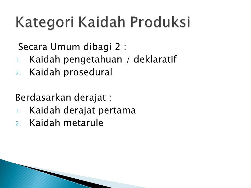Secara Umum dibagi 2 : 1. Kaidah pengetahuan / deklaratif 2.