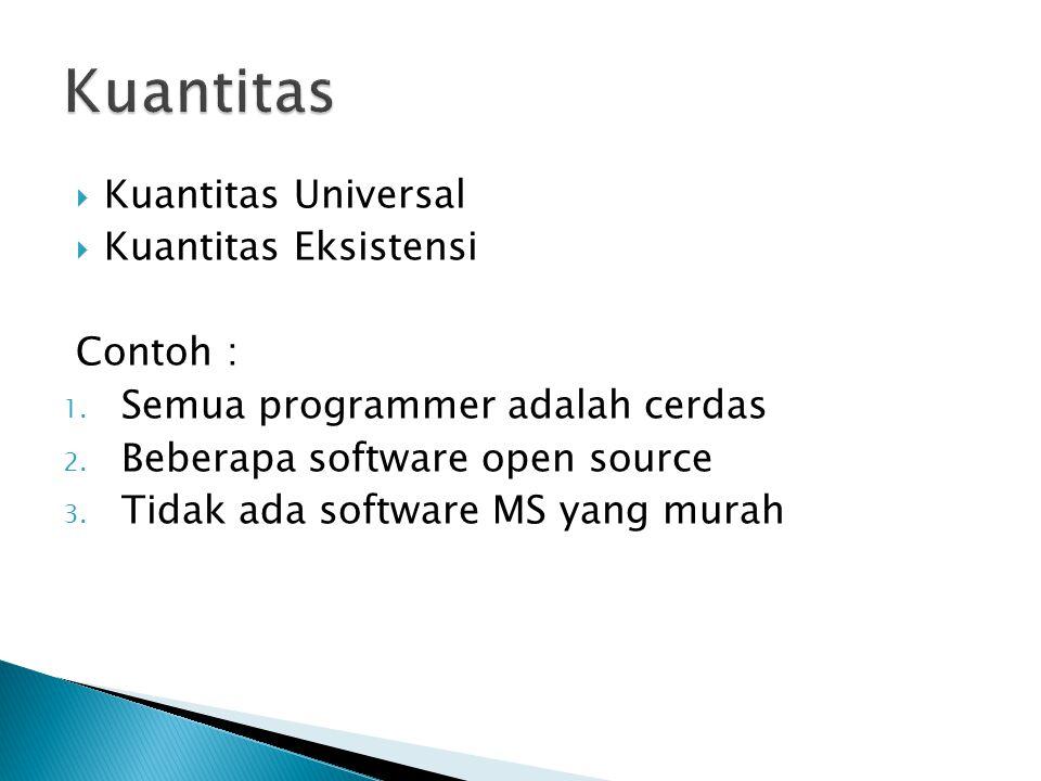  Kuantitas Universal  Kuantitas Eksistensi Contoh : 1.