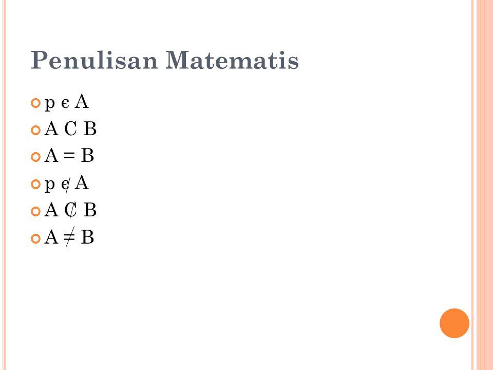 Penulisan Matematis p є A A C B A = B p є A A C B A = B