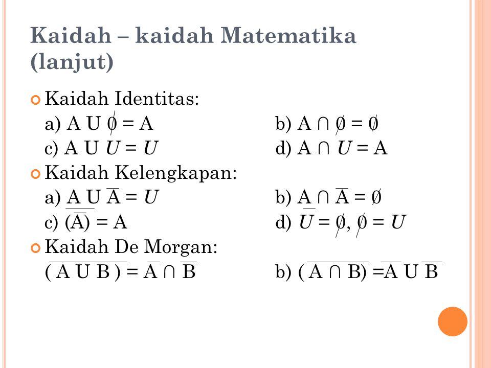 Kaidah – kaidah Matematika (lanjut) Kaidah Identitas: a) A U 0 = Ab) A ∩ 0 = 0 c) A U U = U d) A ∩ U = A Kaidah Kelengkapan: a) A U A = U b) A ∩ A = 0 c) (A) = Ad) U = 0, 0 = U Kaidah De Morgan: ( A U B ) = A ∩ Bb) ( A ∩ B) =A U B