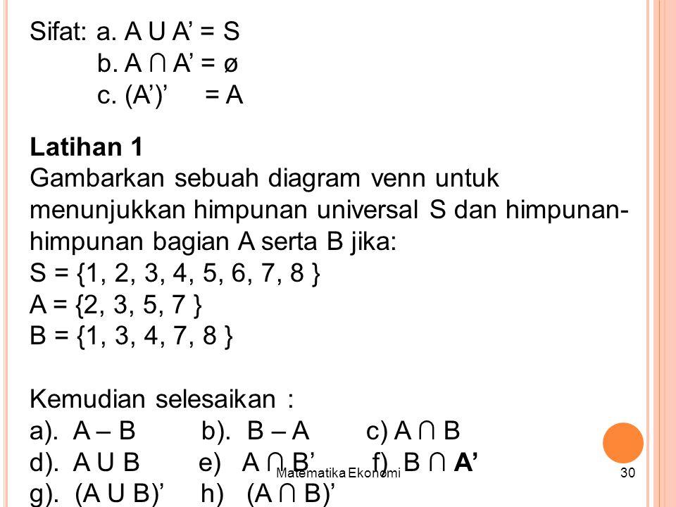 Matematika Ekonomi30 Sifat: a.A U A' = S b. A ∩ A' = ø c.