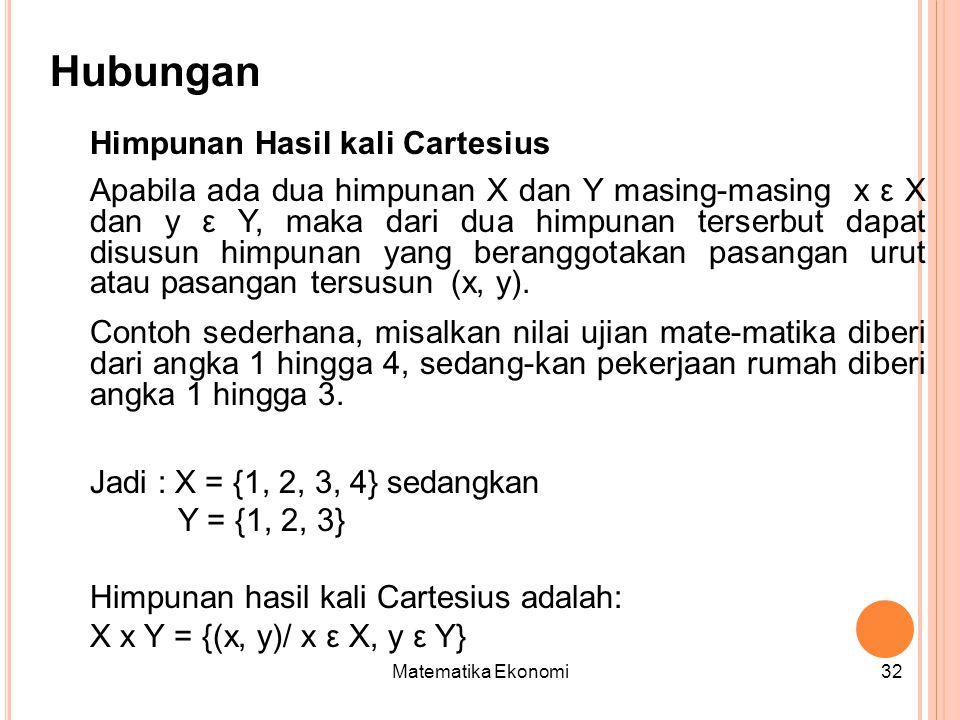Matematika Ekonomi32 Hubungan Himpunan Hasil kali Cartesius Apabila ada dua himpunan X dan Y masing-masing x ε X dan y ε Y, maka dari dua himpunan terserbut dapat disusun himpunan yang beranggotakan pasangan urut atau pasangan tersusun (x, y).