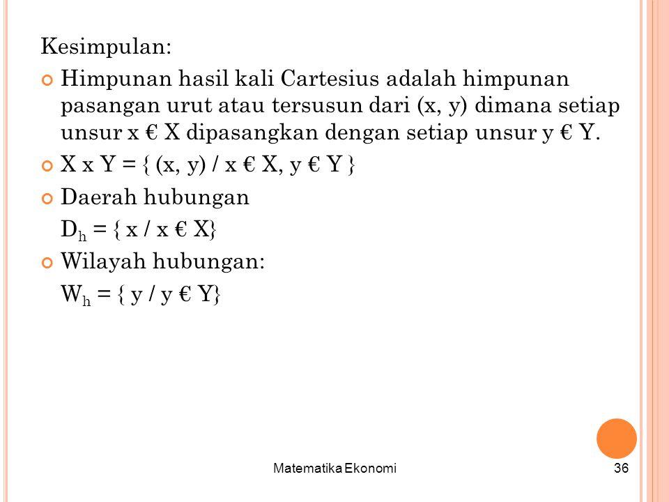 Matematika Ekonomi36 Kesimpulan: Himpunan hasil kali Cartesius adalah himpunan pasangan urut atau tersusun dari (x, y) dimana setiap unsur x € X dipasangkan dengan setiap unsur y € Y.