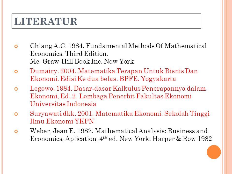 Matematika Ekonomi35 Daerah dan Wilayah (Range) hubungan Perhatikan kembali Himpunan hasil kali Cartesius: H = {(1,1), (1,2), (1,3), (2,1), (2,2), (2,3), (3,1), (3,2), (3,3), (4,1), (4,2), (4,3)} Himpunan unsur-unsur pertama pasangan urut, disebut dengan Daerah hubungan D h = {1, 2, 3, 4} Himpunan unsur-unsur kedua pasangan urut, disebut dengan Wilayah hubungan: W h = {1, 2, 3}