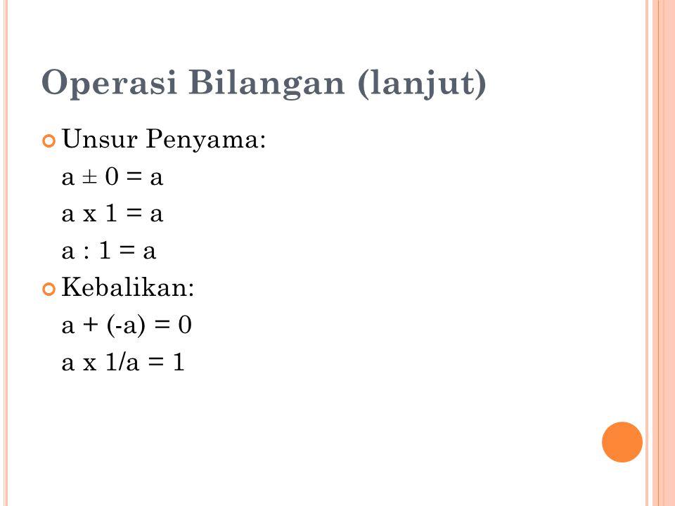 Operasi Bilangan (lanjut) Unsur Penyama: a ± 0 = a a x 1 = a a : 1 = a Kebalikan: a + (-a) = 0 a x 1/a = 1