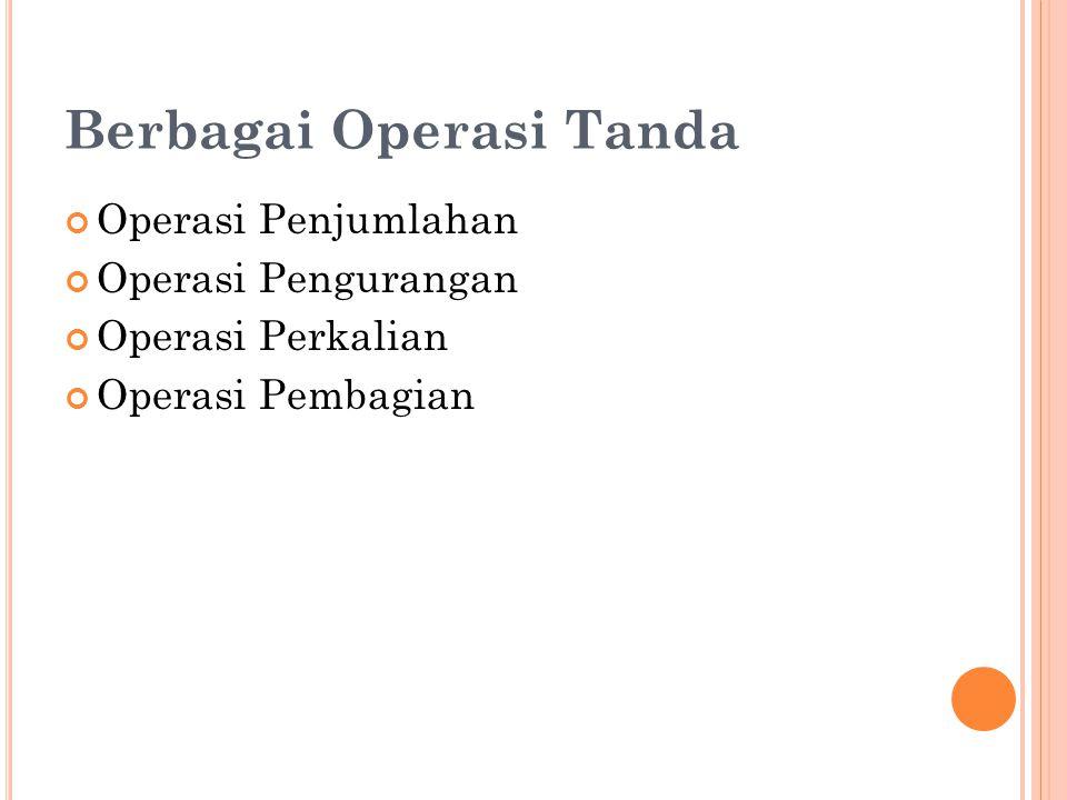 Berbagai Operasi Tanda Operasi Penjumlahan Operasi Pengurangan Operasi Perkalian Operasi Pembagian