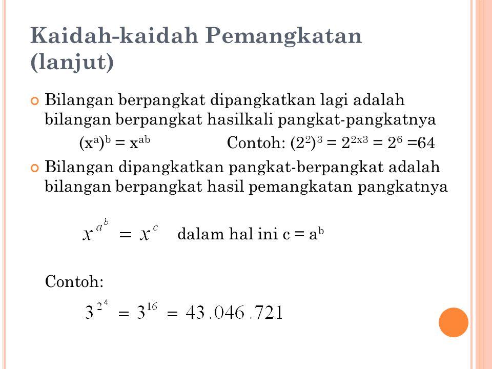 Kaidah-kaidah Pemangkatan (lanjut) Bilangan berpangkat dipangkatkan lagi adalah bilangan berpangkat hasilkali pangkat-pangkatnya (x a ) b = x ab Contoh: (2 2 ) 3 = 2 2x3 = 2 6 =64 Bilangan dipangkatkan pangkat-berpangkat adalah bilangan berpangkat hasil pemangkatan pangkatnya dalam hal ini c = a b Contoh: