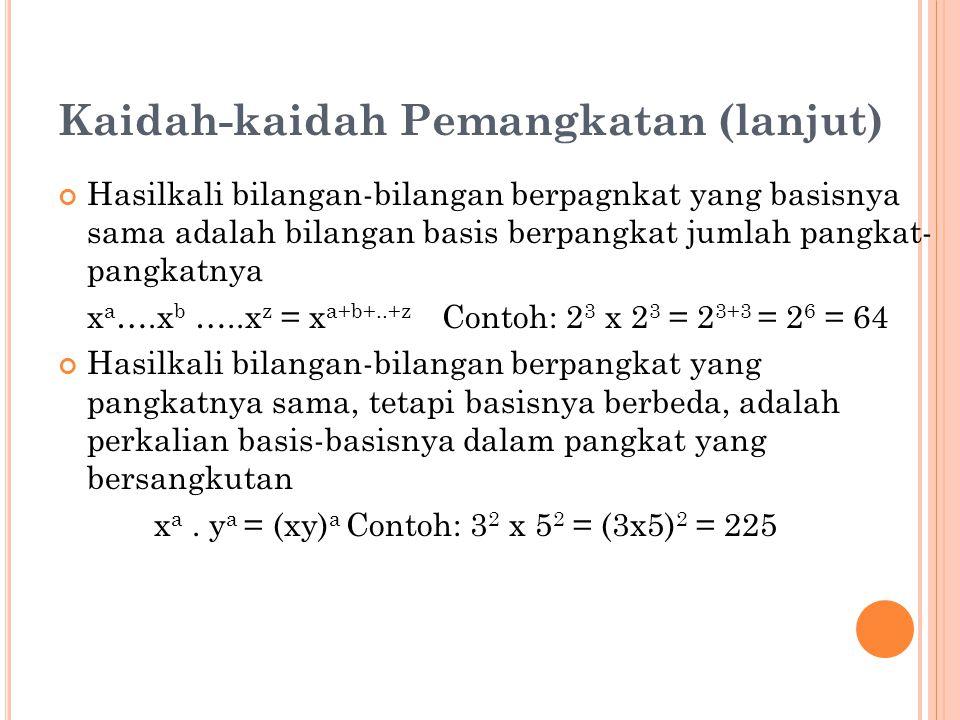 Kaidah-kaidah Pemangkatan (lanjut) Hasilkali bilangan-bilangan berpagnkat yang basisnya sama adalah bilangan basis berpangkat jumlah pangkat- pangkatnya x a ….x b …..x z = x a+b+..+z Contoh: 2 3 x 2 3 = 2 3+3 = 2 6 = 64 Hasilkali bilangan-bilangan berpangkat yang pangkatnya sama, tetapi basisnya berbeda, adalah perkalian basis-basisnya dalam pangkat yang bersangkutan x a.