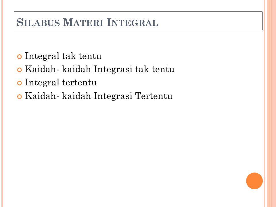 S ILABUS M ATERI I NTEGRAL Integral tak tentu Kaidah- kaidah Integrasi tak tentu Integral tertentu Kaidah- kaidah Integrasi Tertentu