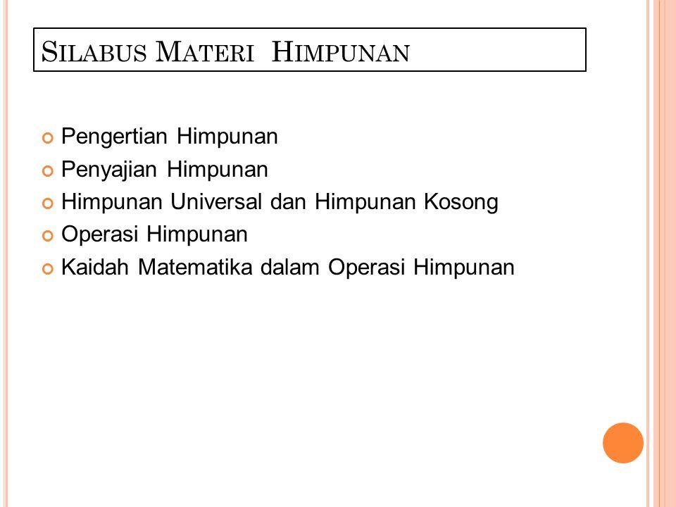 S ILABUS M ATERI H IMPUNAN Pengertian Himpunan Penyajian Himpunan Himpunan Universal dan Himpunan Kosong Operasi Himpunan Kaidah Matematika dalam Operasi Himpunan