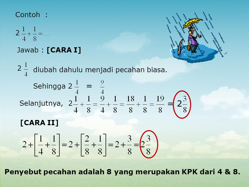Contoh : 2 Jawab : [CARA I] 2 diubah dahulu menjadi pecahan biasa. Sehingga 2 = Selanjutnya, 2 = 2 Penyebut pecahan adalah 8 yang merupakan KPK dari 4