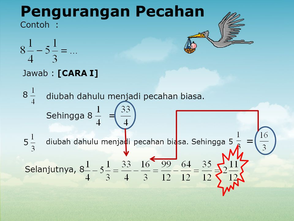 Pengurangan Pecahan Contoh : Jawab : [CARA I] 8 diubah dahulu menjadi pecahan biasa. Sehingga 8 = 5 diubah dahulu menjadi pecahan biasa. Sehingga 5 =