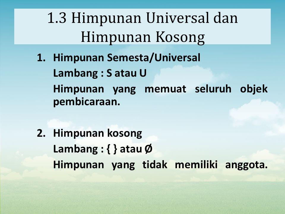 1.3 Himpunan Universal dan Himpunan Kosong 1.Himpunan Semesta/Universal Lambang : S atau U Himpunan yang memuat seluruh objek pembicaraan. 2.Himpunan