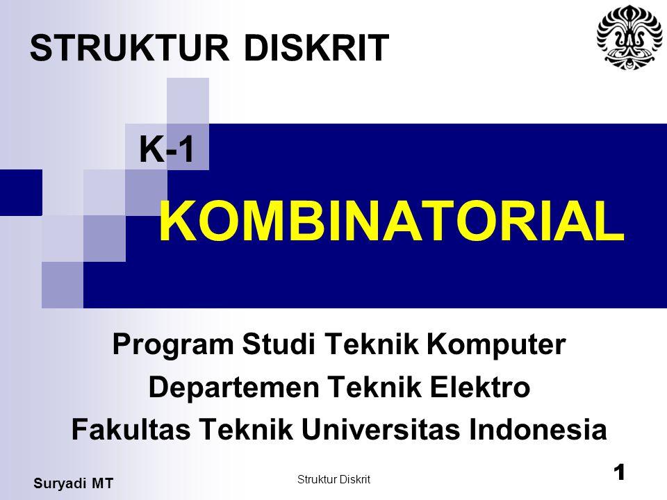 Suryadi MT Struktur Diskrit 1 KOMBINATORIAL Program Studi Teknik Komputer Departemen Teknik Elektro Fakultas Teknik Universitas Indonesia STRUKTUR DIS