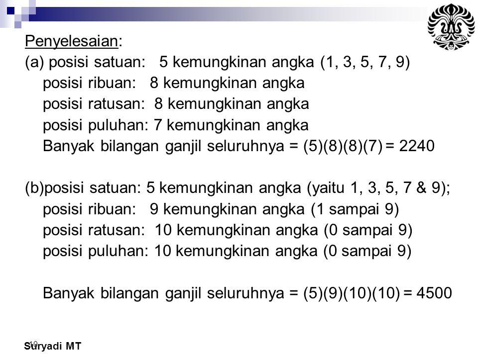 Suryadi MT 10 Penyelesaian: (a) posisi satuan: 5 kemungkinan angka (1, 3, 5, 7, 9) posisi ribuan: 8 kemungkinan angka posisi ratusan: 8 kemungkinan an
