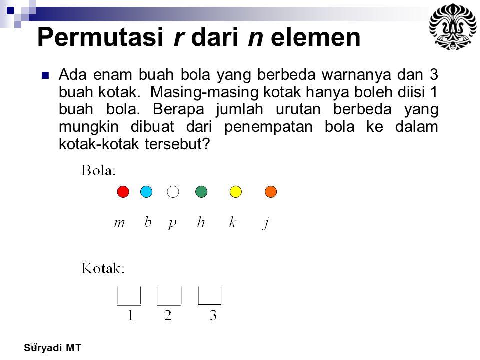 Suryadi MT 18 Permutasi r dari n elemen Ada enam buah bola yang berbeda warnanya dan 3 buah kotak. Masing-masing kotak hanya boleh diisi 1 buah bola.