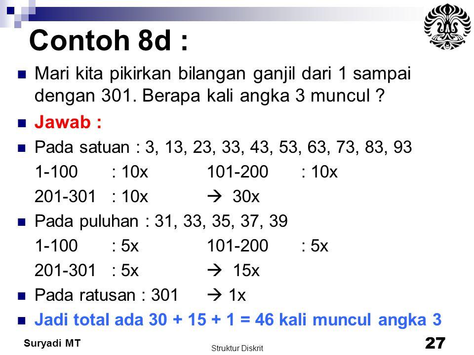 Suryadi MT Contoh 8d : Mari kita pikirkan bilangan ganjil dari 1 sampai dengan 301. Berapa kali angka 3 muncul ? Jawab : Pada satuan : 3, 13, 23, 33,