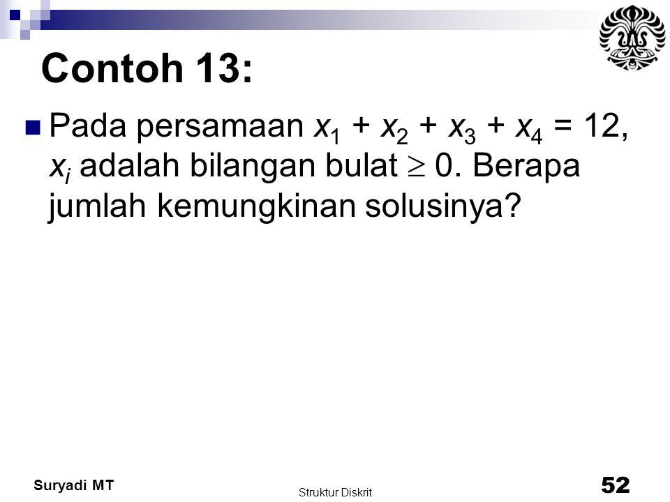 Suryadi MT Contoh 13: Pada persamaan x 1 + x 2 + x 3 + x 4 = 12, x i adalah bilangan bulat  0. Berapa jumlah kemungkinan solusinya? Struktur Diskrit