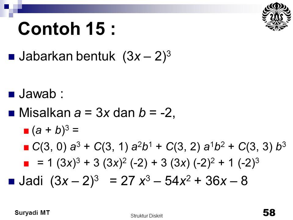 Suryadi MT Contoh 15 : Jabarkan bentuk (3x – 2) 3 Jawab : Misalkan a = 3x dan b = -2, (a + b) 3 = C(3, 0) a 3 + C(3, 1) a 2 b 1 + C(3, 2) a 1 b 2 + C(