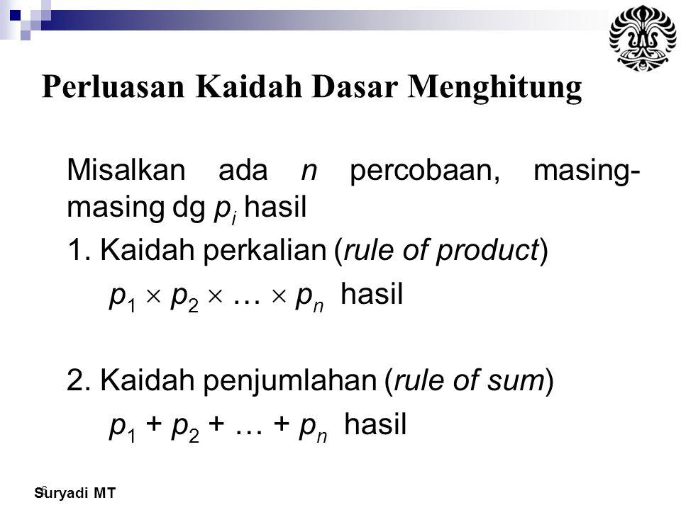 Suryadi MT 6 Perluasan Kaidah Dasar Menghitung Misalkan ada n percobaan, masing- masing dg p i hasil 1. Kaidah perkalian (rule of product) p 1  p 2 
